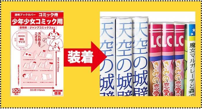コミック侍の透明ブックカバーの装着イメージ